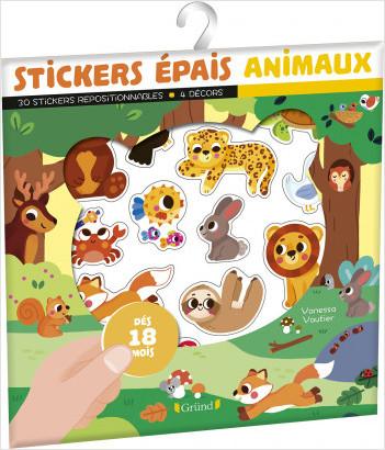 Stickers épais : animaux – Pochette de 30 autocollants épais et repositionnables avec 4 décors – À partir de 18 mois