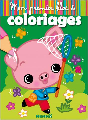 Mon premier bloc de coloriages - Cochon - Bloc de coloriages aux contours épais et colorés - dès 3 ans