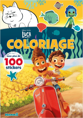 Disney Pixar Luca – Coloriage avec plus de 100 stickers – Livre de coloriage avec stickers – Dès 4 ans