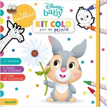 Disney Baby - Kit colo pour les Minis - Les animaux - Kit de coloriage avec pastels - Dès 3 ans