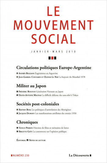 Circulations politiques Europe-Argentine / Militer au Japon / Sociétés post-coloniales