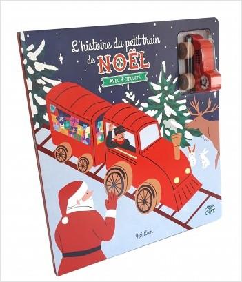 L'histoire du petit train de Noël - Livre-jeu tout carton avec véhicule en bois - Dès 18 mois