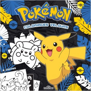 Pokémon - Coloriages velours - Pochette de 8 cartes à colorier relief velours - Dès 3 ans